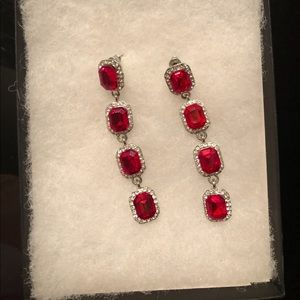 Red Stone Drop Earrings